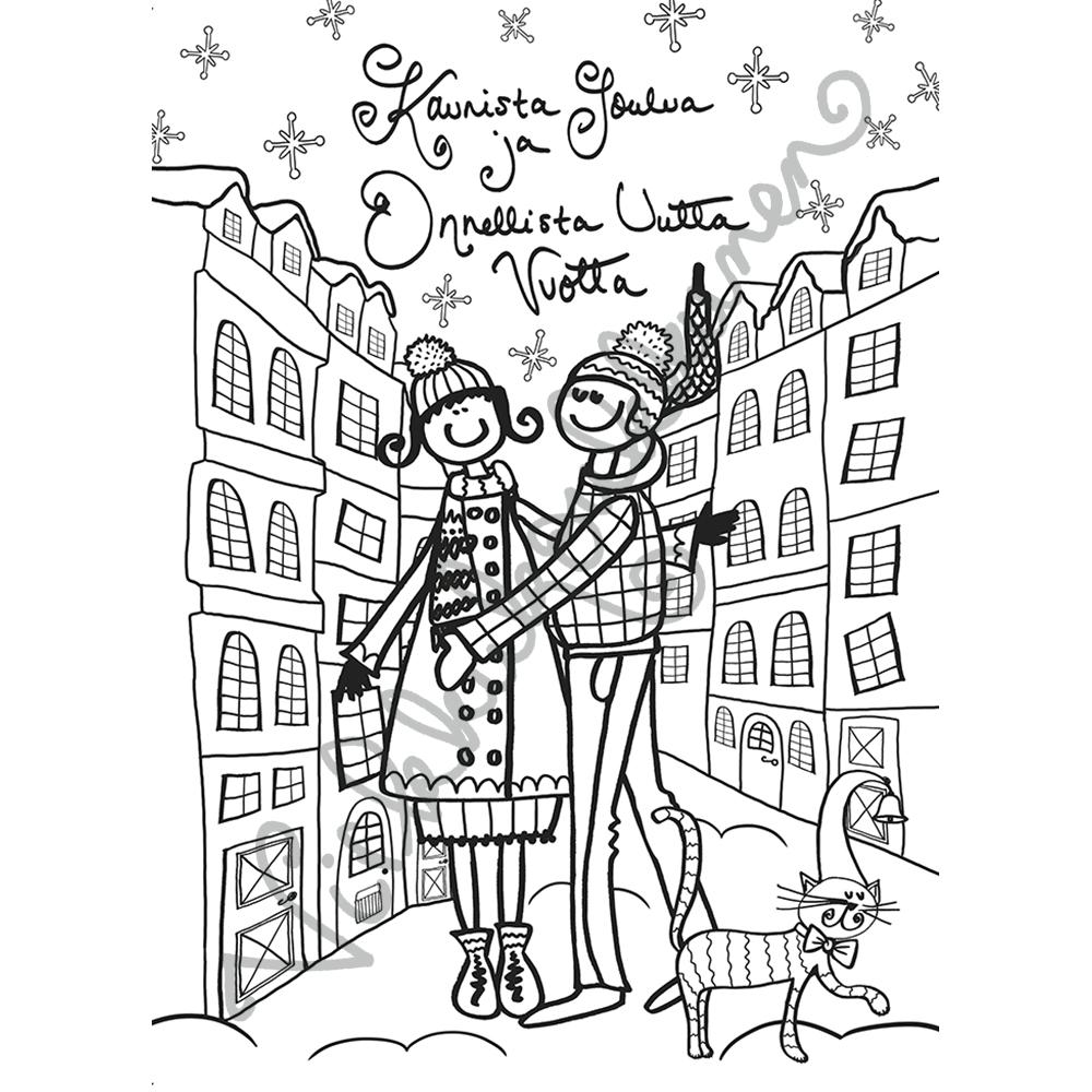 """Värityskortti """"Kaunista Joulua ja Onnellista Uutta Vuotta"""" 463"""