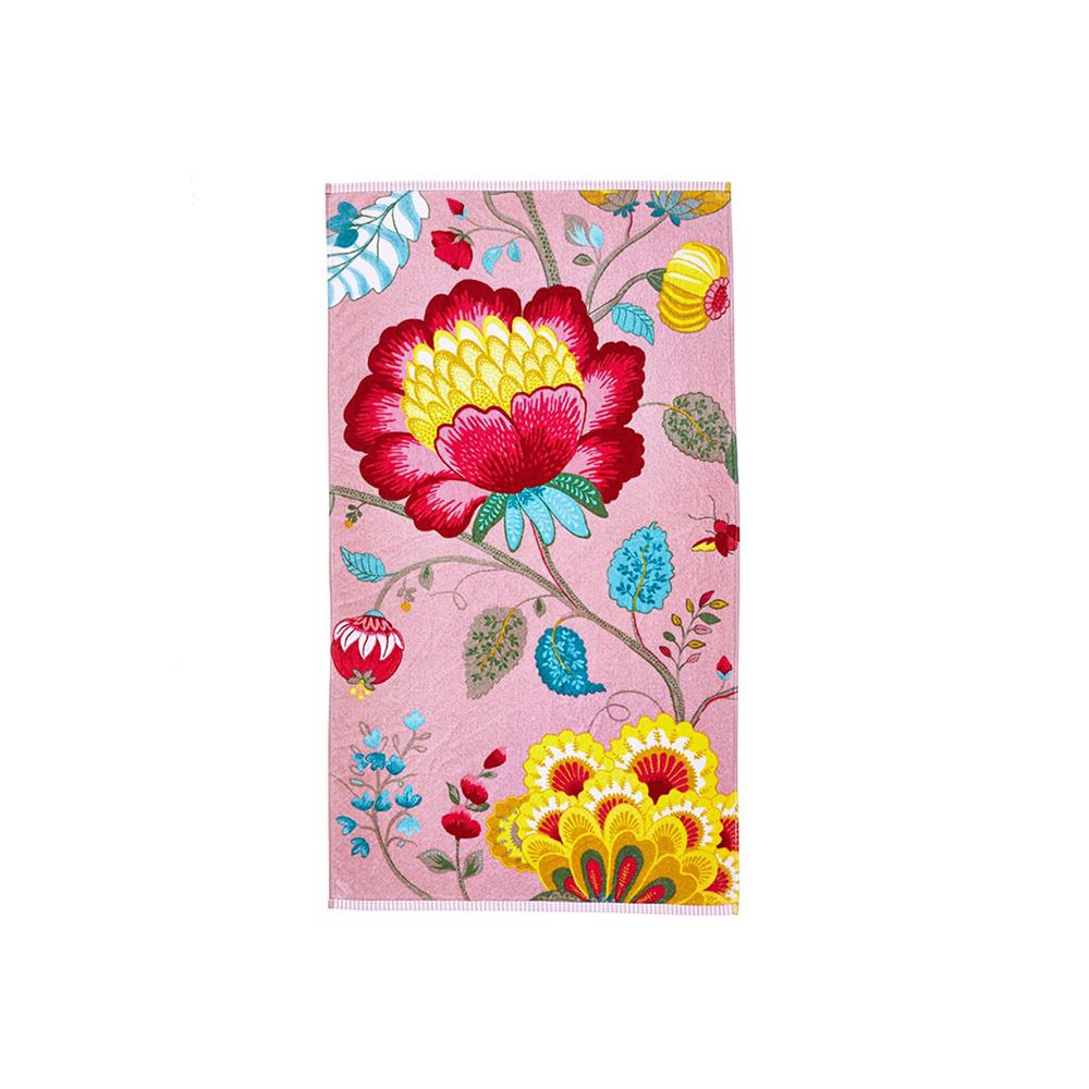 Floral Fantasy pinkki suuri käsi- ja kasvopyyhe/kylpypyyhe