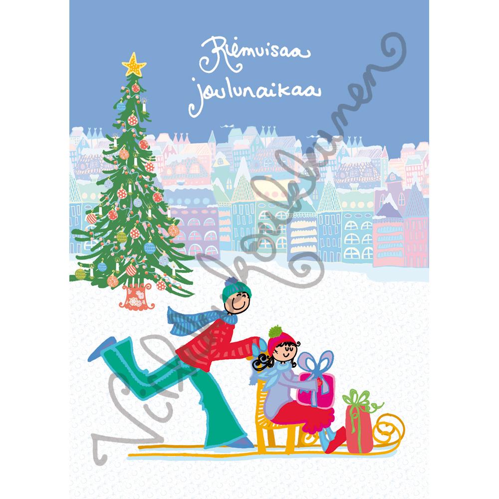"""Joulukortti """"Riemuisaa joulunaikaa!"""" 199"""