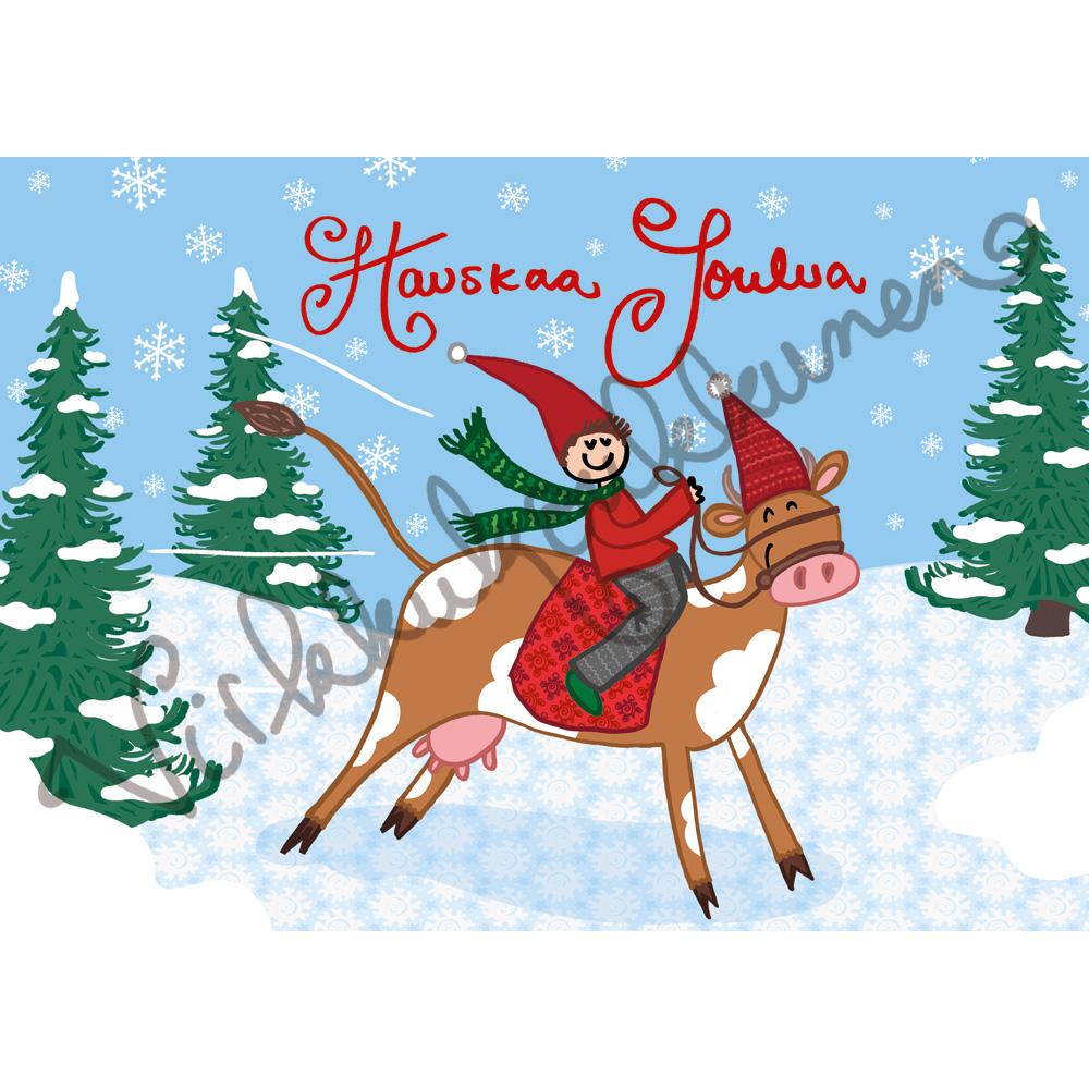 """Joulukortti """"Hauskaa Joulua!"""" Rodeotonttu 374"""