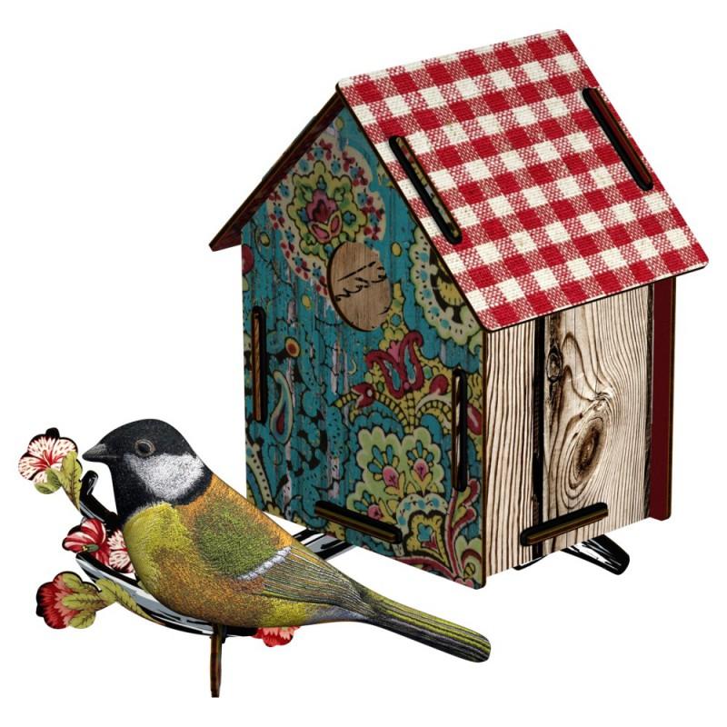 """Miho seinäkoriste linnunpönttö ja lintu """"Serenade"""""""