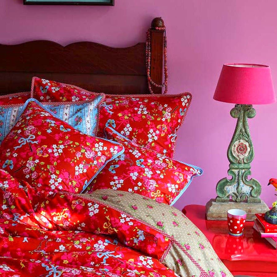 "Tyynyliina ""Chinese Rose"" punainen"