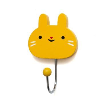 """Seinäkoukku """"Pupu"""" keltainen"""