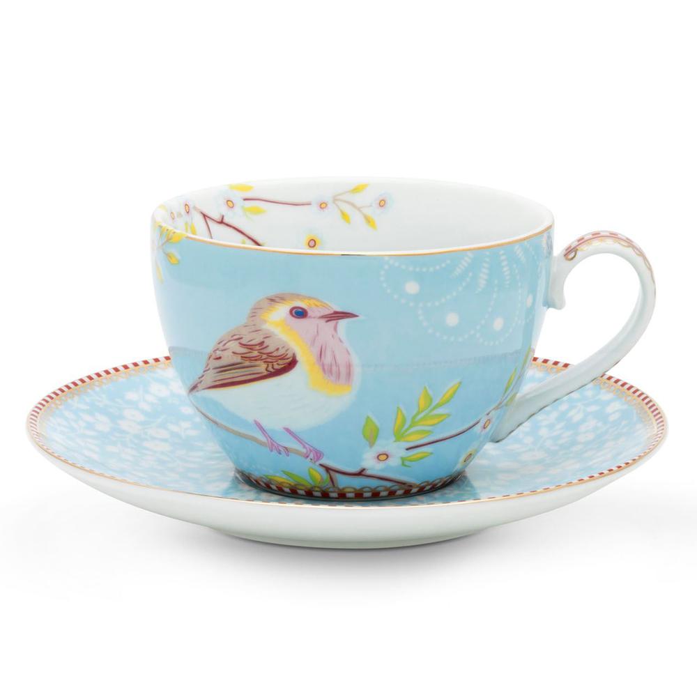 """Kahvi- tai cappuccinokuppi ja lautanen """"Early Bird"""" sininen"""