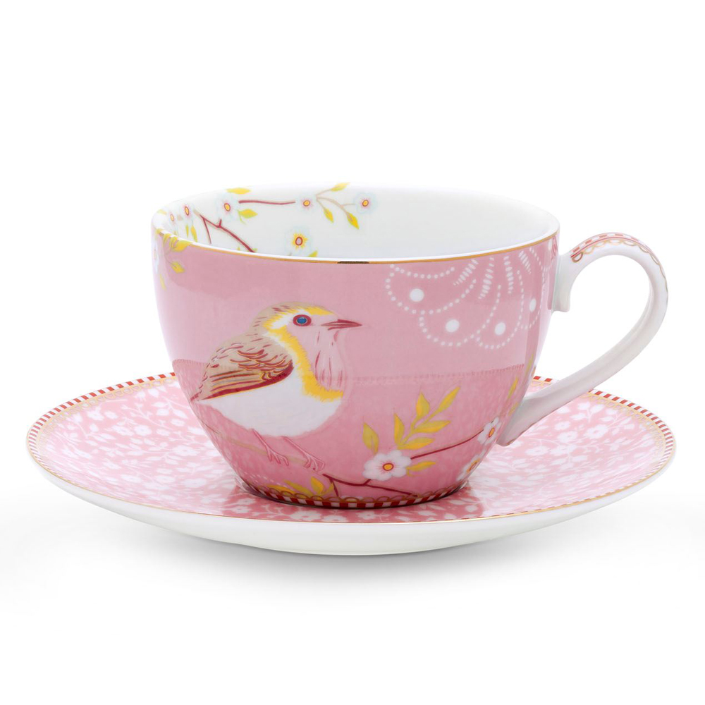 """Kahvi- tai cappuccinokuppi ja lautanen """"Early Bird"""" pinkki"""