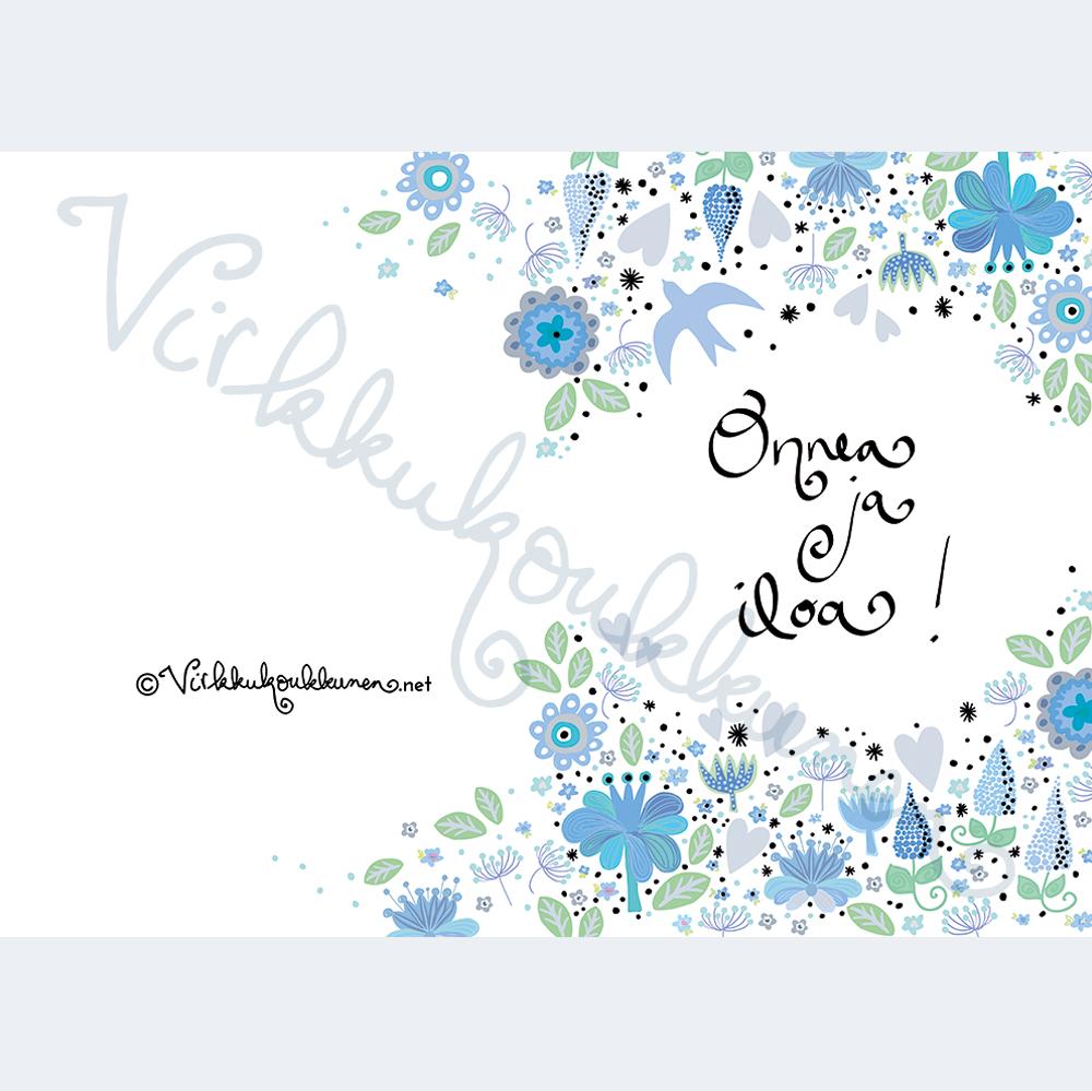 """Hopeakoristeinen taittokortti """"Onnea ja iloa"""" 758"""