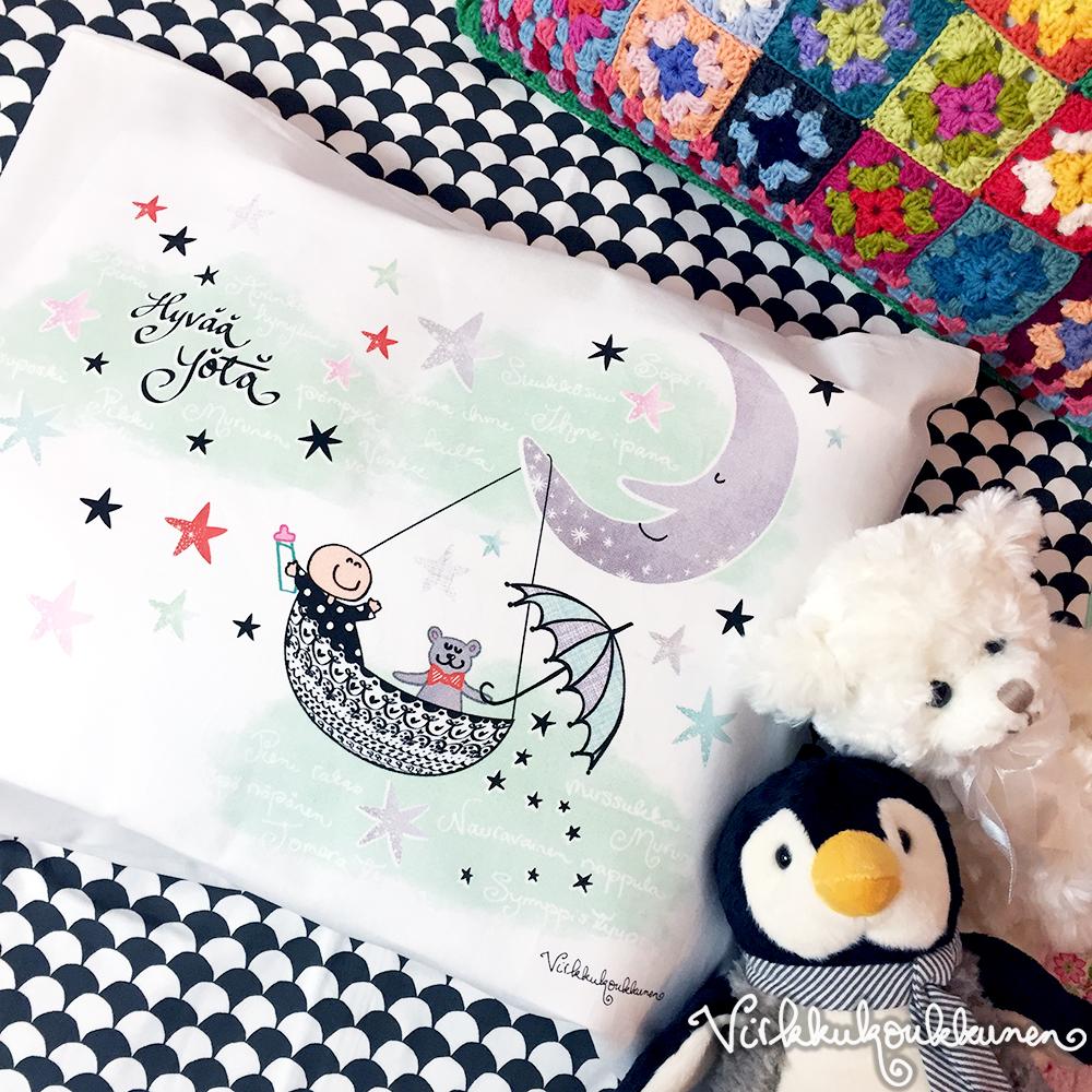 """Lasten tyynyliina """"Hyvää yötä"""""""